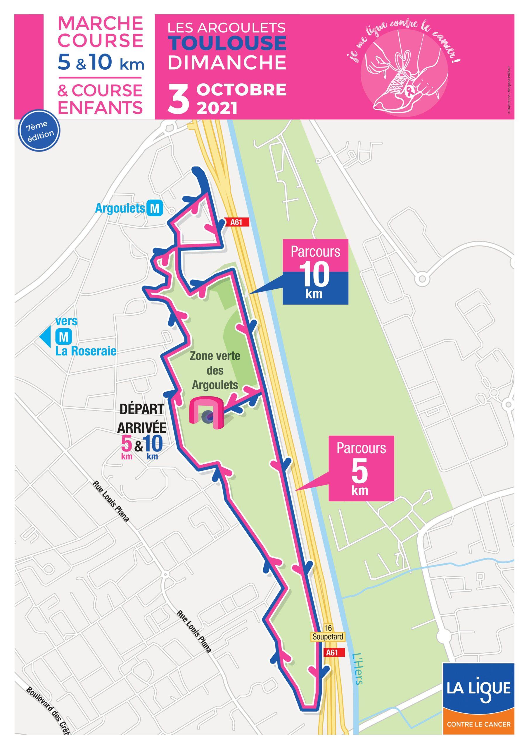 Parcours 5 km et 10 km - course je me ligue contre le cancer 2021